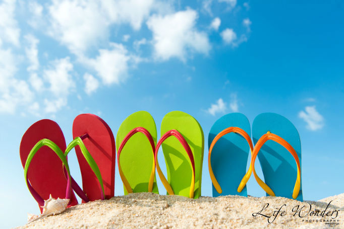 Colorful flip flops for beach
