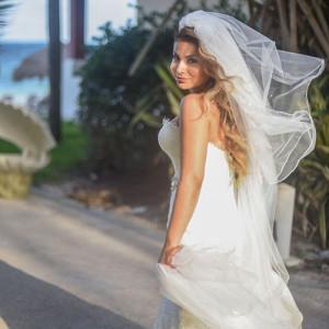 Beach wedding bride