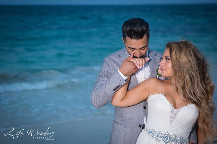 Bride and Groom next to Cancun Beach