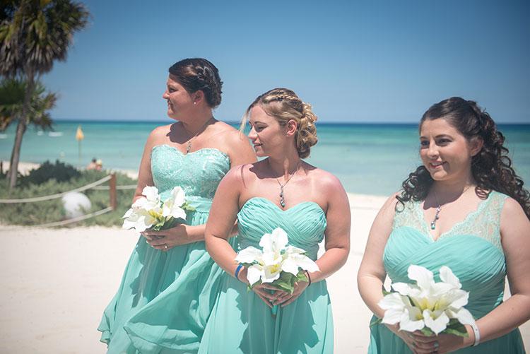 Bridemaids in beach wedding