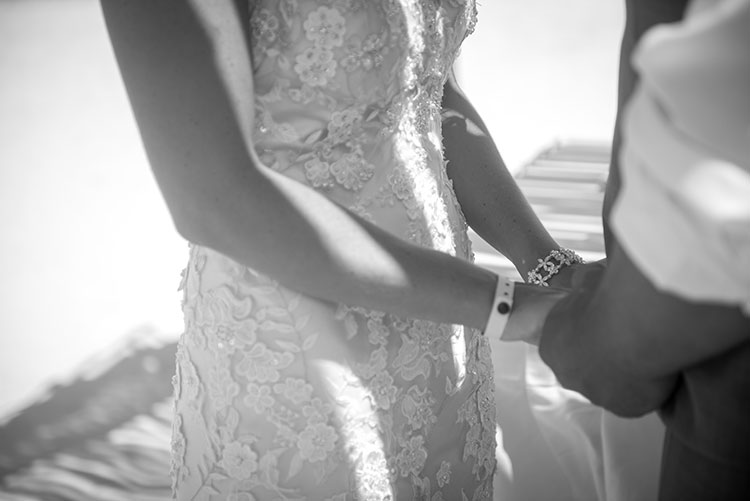 Bride holding hands