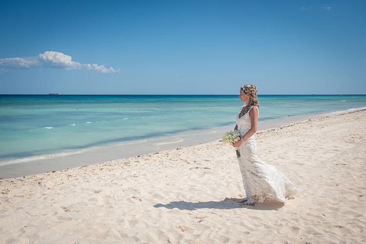 Bride in beach wedding