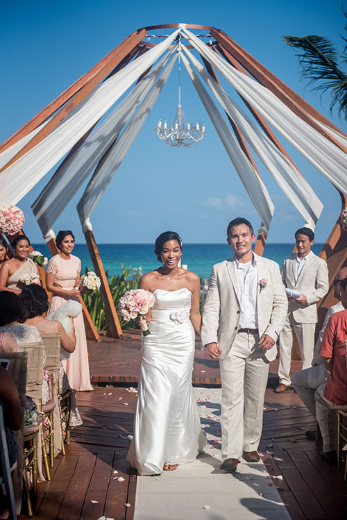 newlyweds in azul fives weddings