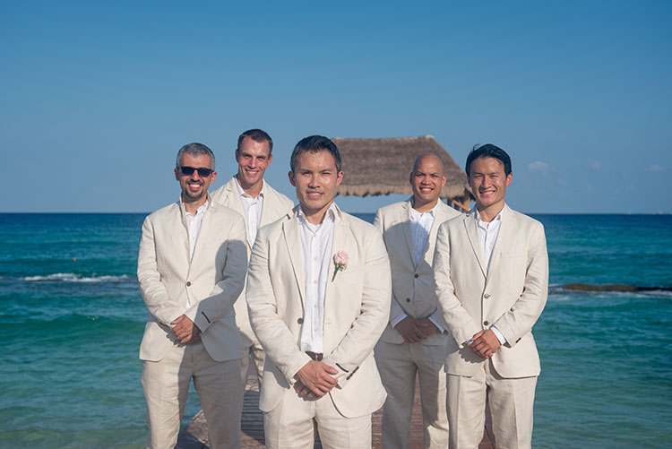 groom and his groomsmen in cancun