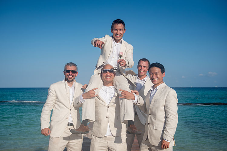 groom and groomsmen in cancun