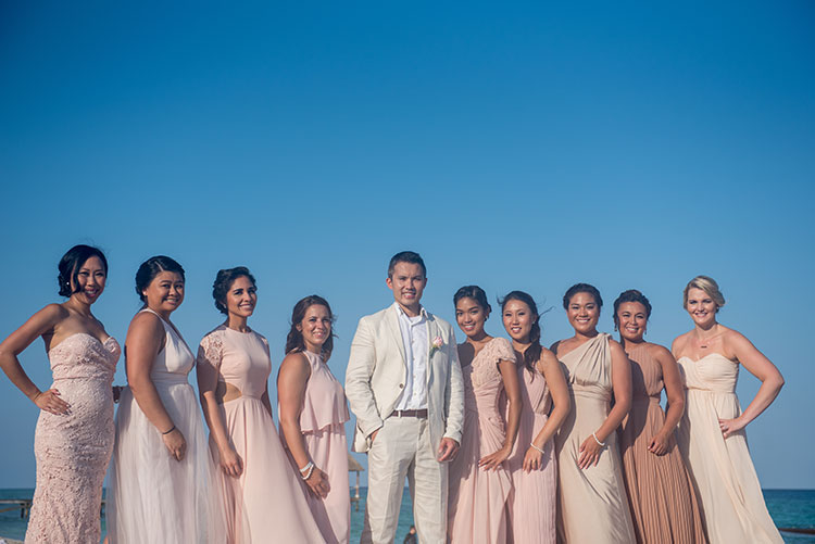 grom and bridesmaids in cancun