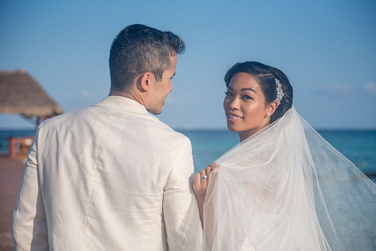 bride and groom portrait in azul fives