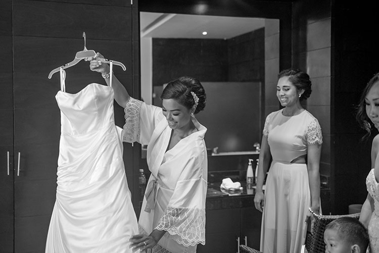 bride and her bridal gown
