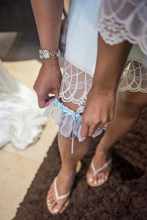 bride wearing garter belt