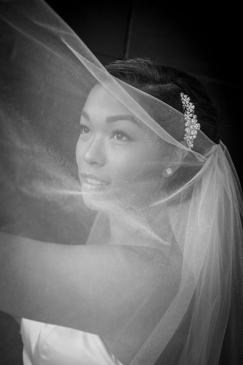 bride black and white portrait