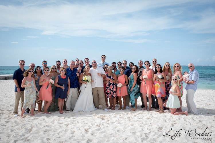 wedding family portrait at the beach