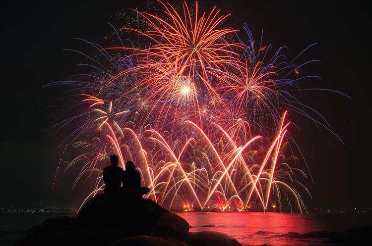 Couple and fireworks celebration.