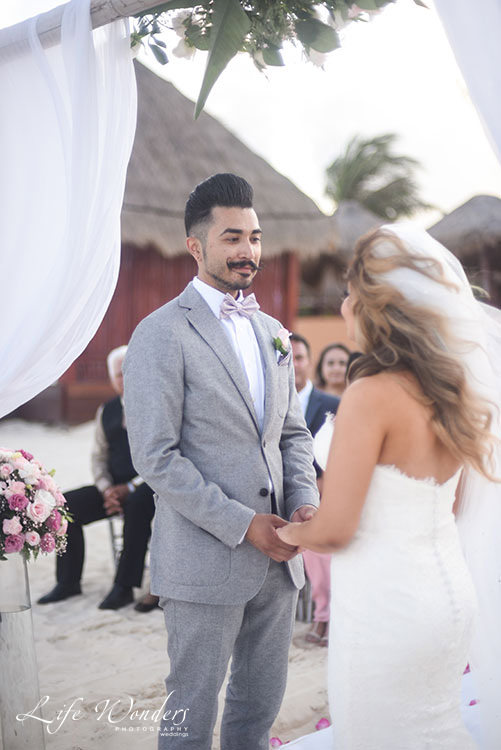 Groom looks for the first time