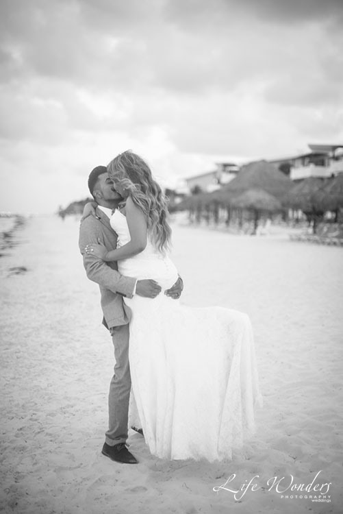 black and white beach wedding photo
