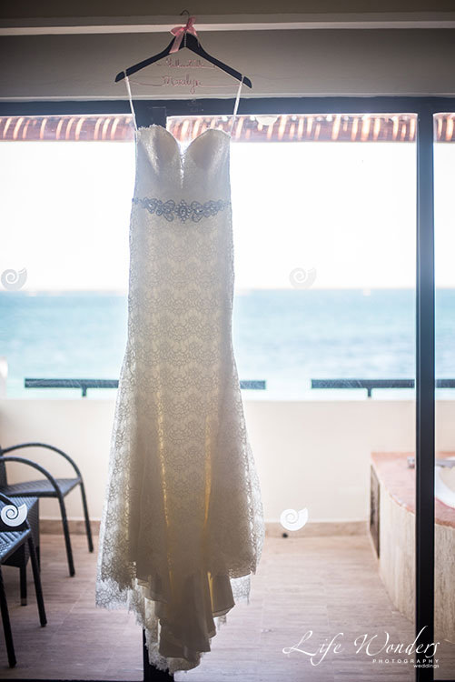 Hanging Wedding Gown in beach