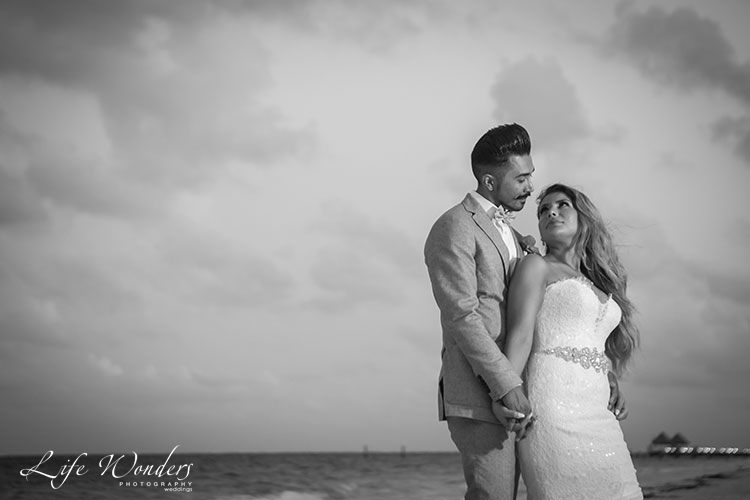 bride and groom black and white photo
