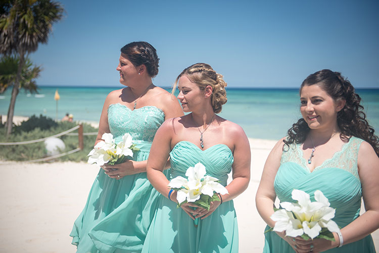 Bridemaids in beach wedding