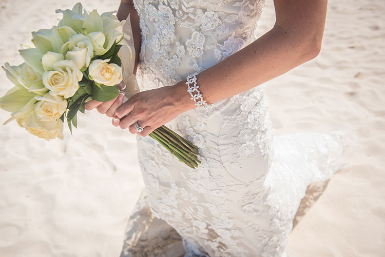 Bride bouquet in the beach