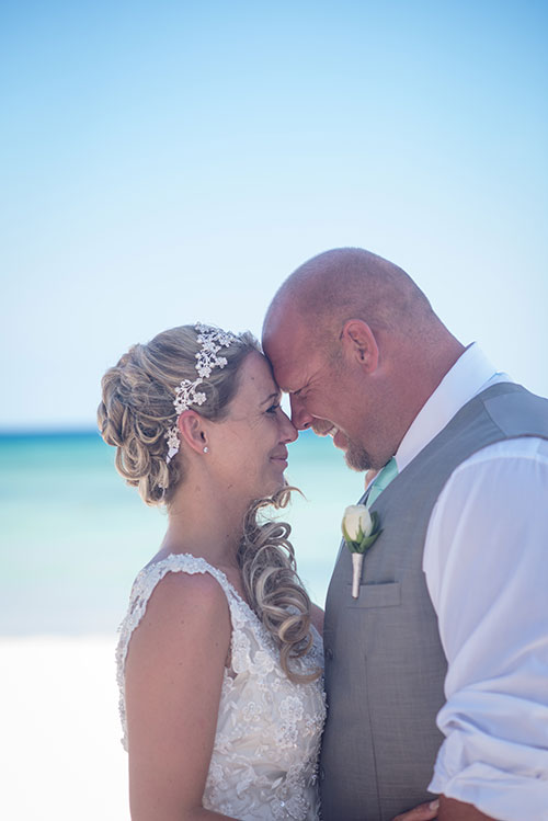 Bride and groom in a beach wedding