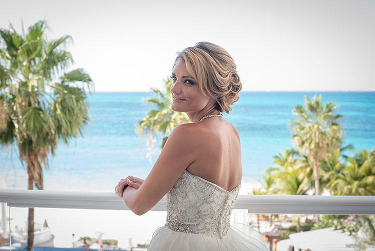 bride with beach as backdrop