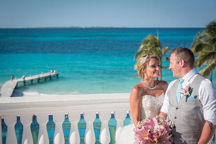 bride and groom in resort