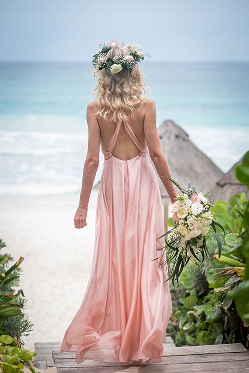 beach backdrop with bride