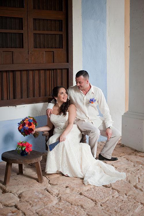bride and groom in a hacienda setting
