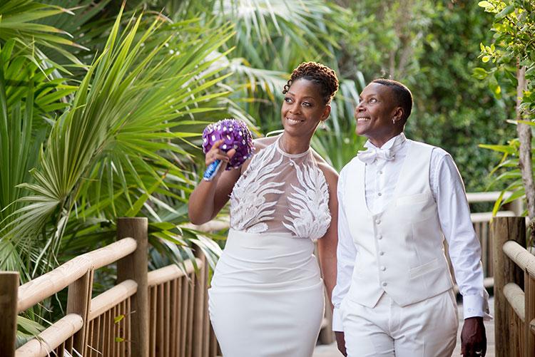 gay couple in Vidanta resort wedding