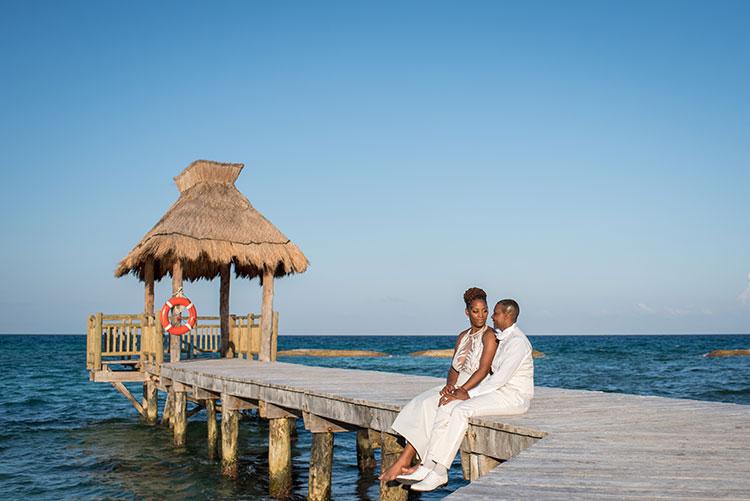 wedding portrait in riviera maya beach
