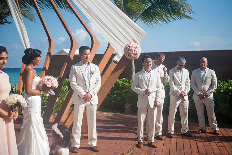 groomsmen in wedding ceremony - azul fives weddings