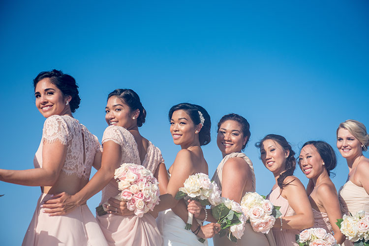 bride and bridesmaids in cancun