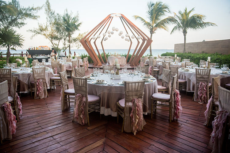 beach wedding reception table setting - wedding photos