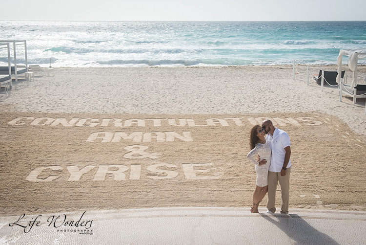 congratulation message on sand