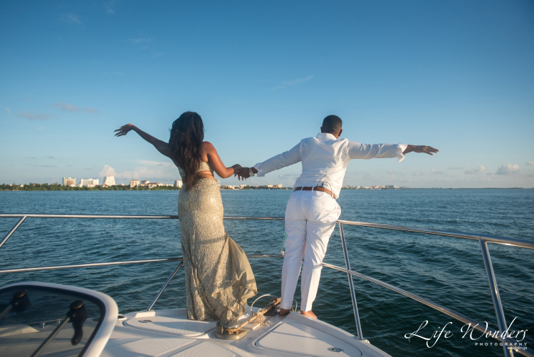 couple on the yacht deck