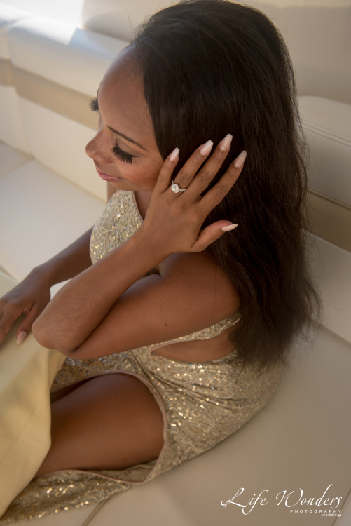 girl showing engagement ring