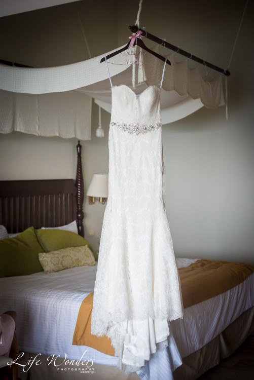 simple wedding dress hanging