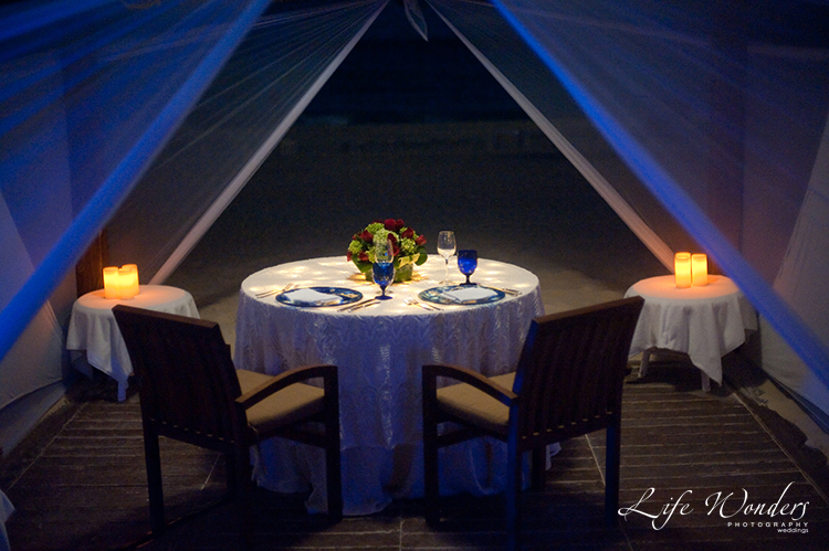 table setting for dinner inside cabana