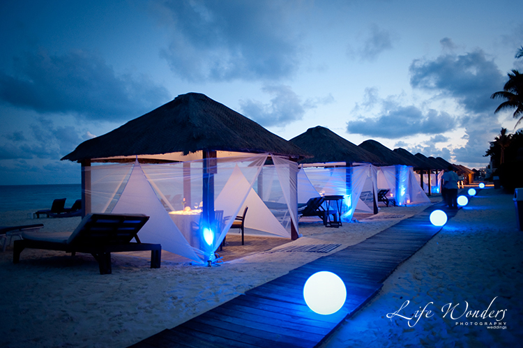 brilliant blue hue of sunset cabanas