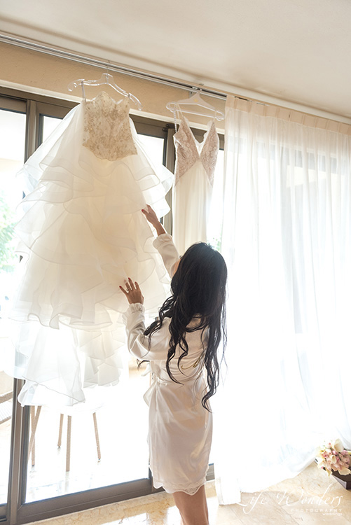 bride and white wedding dress