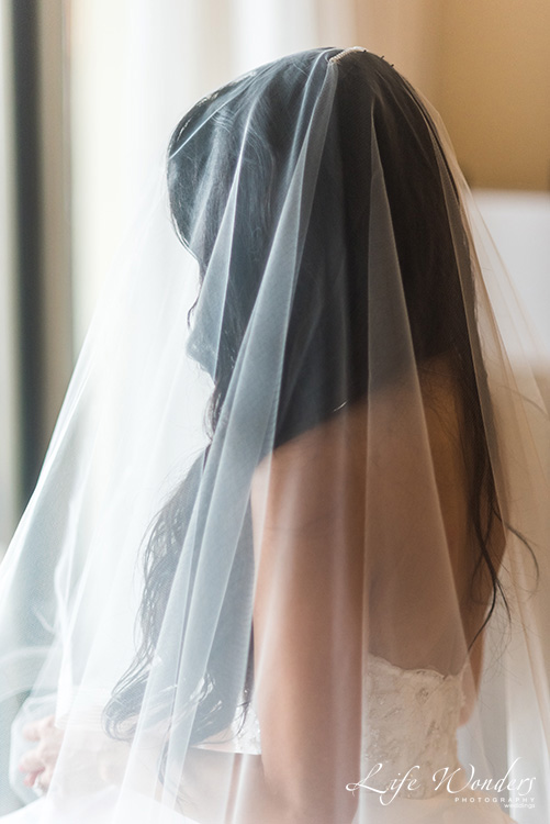 bride and wedding veil
