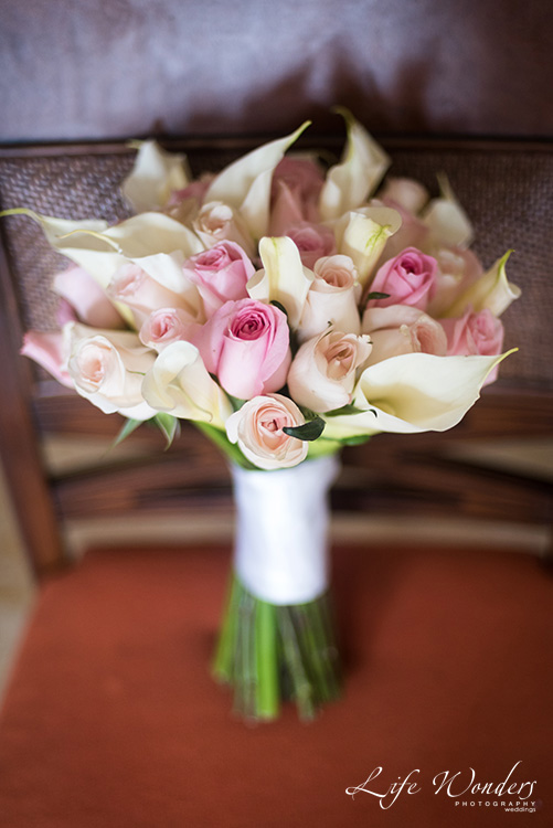 wedding bouquet pink rose white lily