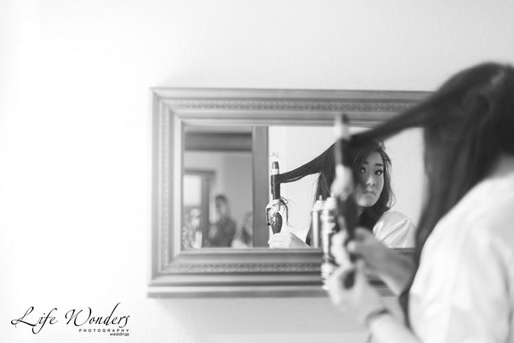 woman getting her hair ready