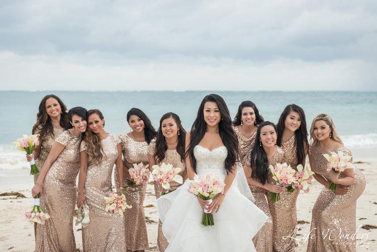 bride and bridesmaids wedding portrait