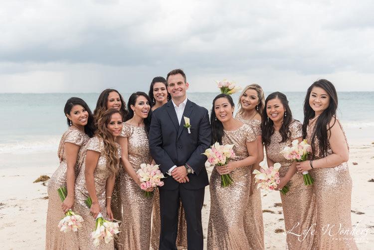 groom and bridesmaids wedding portrait