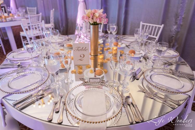 elegant wedding reception table setting