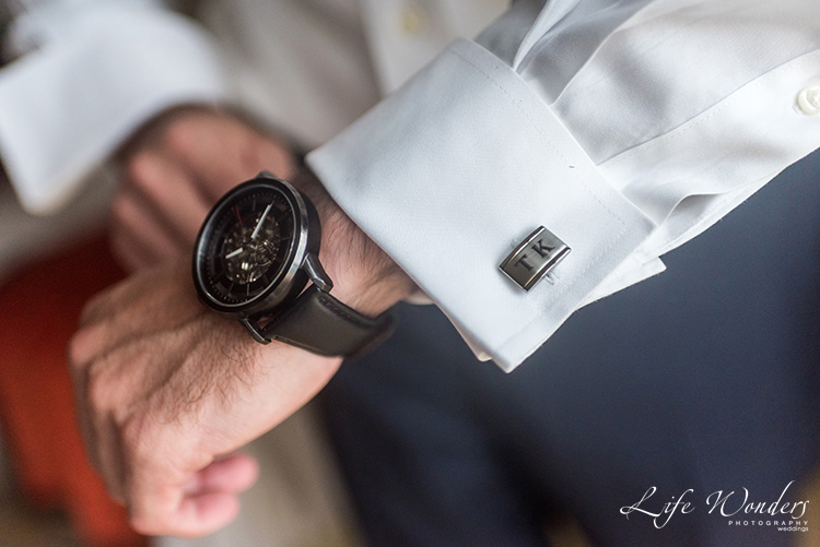 wrist watch and cufflink