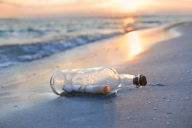 Message in a Bottle at Sunset - marriage proposals