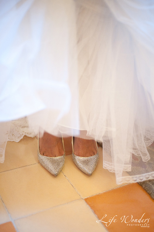silver wedding shoes and accessories