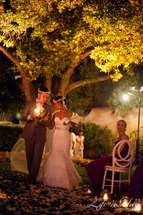 bride groom with candle