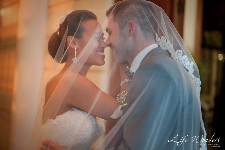 merida wedding photographs bride groom under the veil